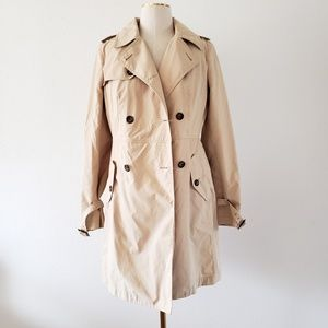 TALBOTS Women's 4 Beige Trench Coat Jacket No Belt